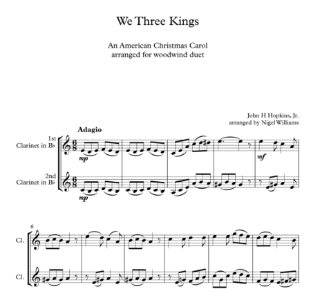 We Three Kings, for Clarinet Duet