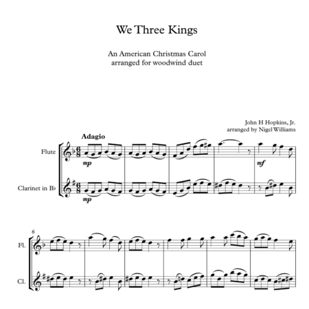 We Three Kings, Duet for Flute and Clarinet