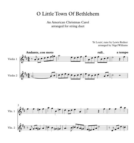 O Little Town Of Bethlehem, for Violin Duet