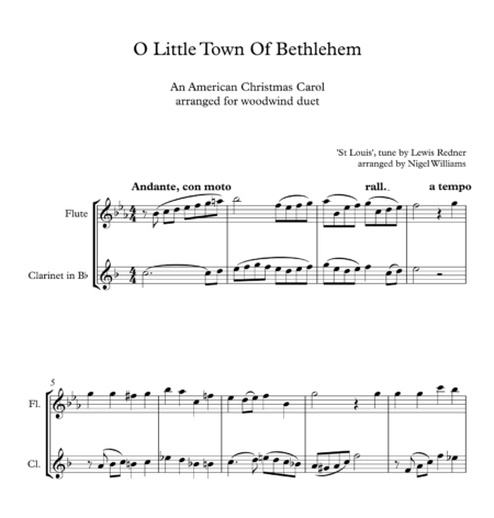 O Little Town Of Bethlehem, Duet for Flute and Clarinet