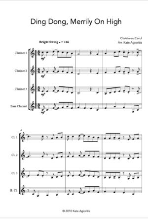 Ding Dong Merrily on High – Jazz Carol for Clarinet Quartet