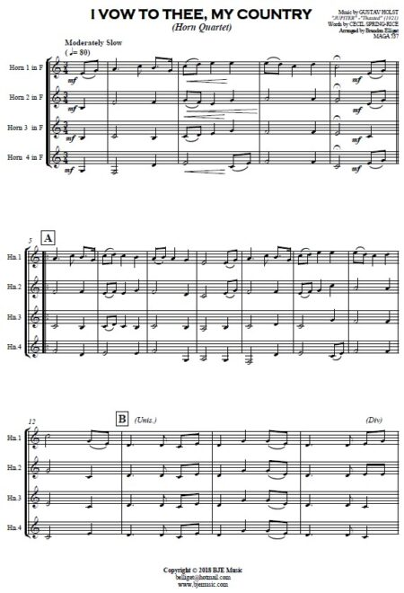 307 I Vow to Thee My Country Horn Quartet SAMPLE page 01