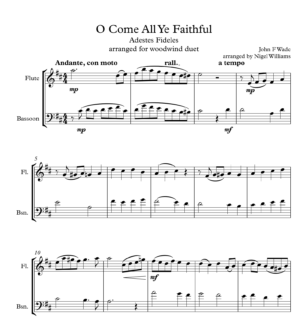 O Come All Ye Faithful, Duet for Flute and Bassoon