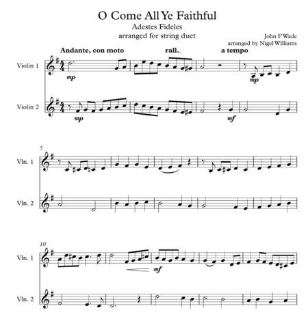 O Come All Ye Faithful, for Violin Duet