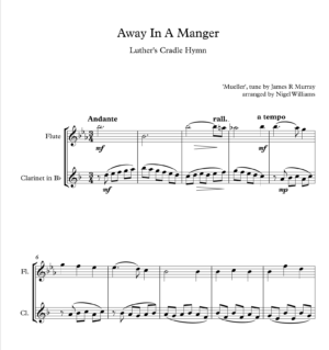 Away In A Manger, Duet for Flute and Clarinet