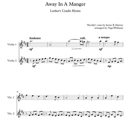 Away In A Manger, for Violin Duet
