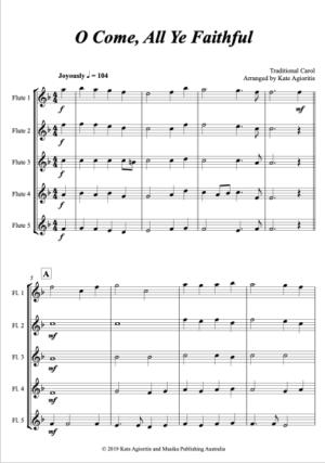 O Come, All Ye Faithful – for Flute Quintet/Choir