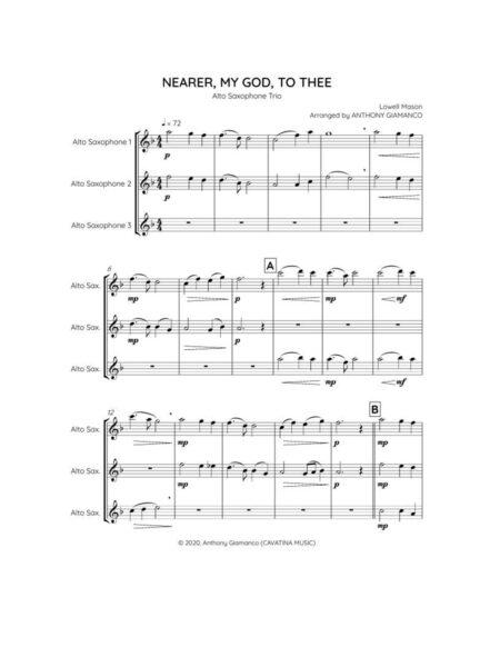 NEARER MY GOD TO THEE alto sax trio 1