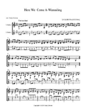 Here We Come A-Wassailing, Ukulele Solo, Fingerstyle, Low G