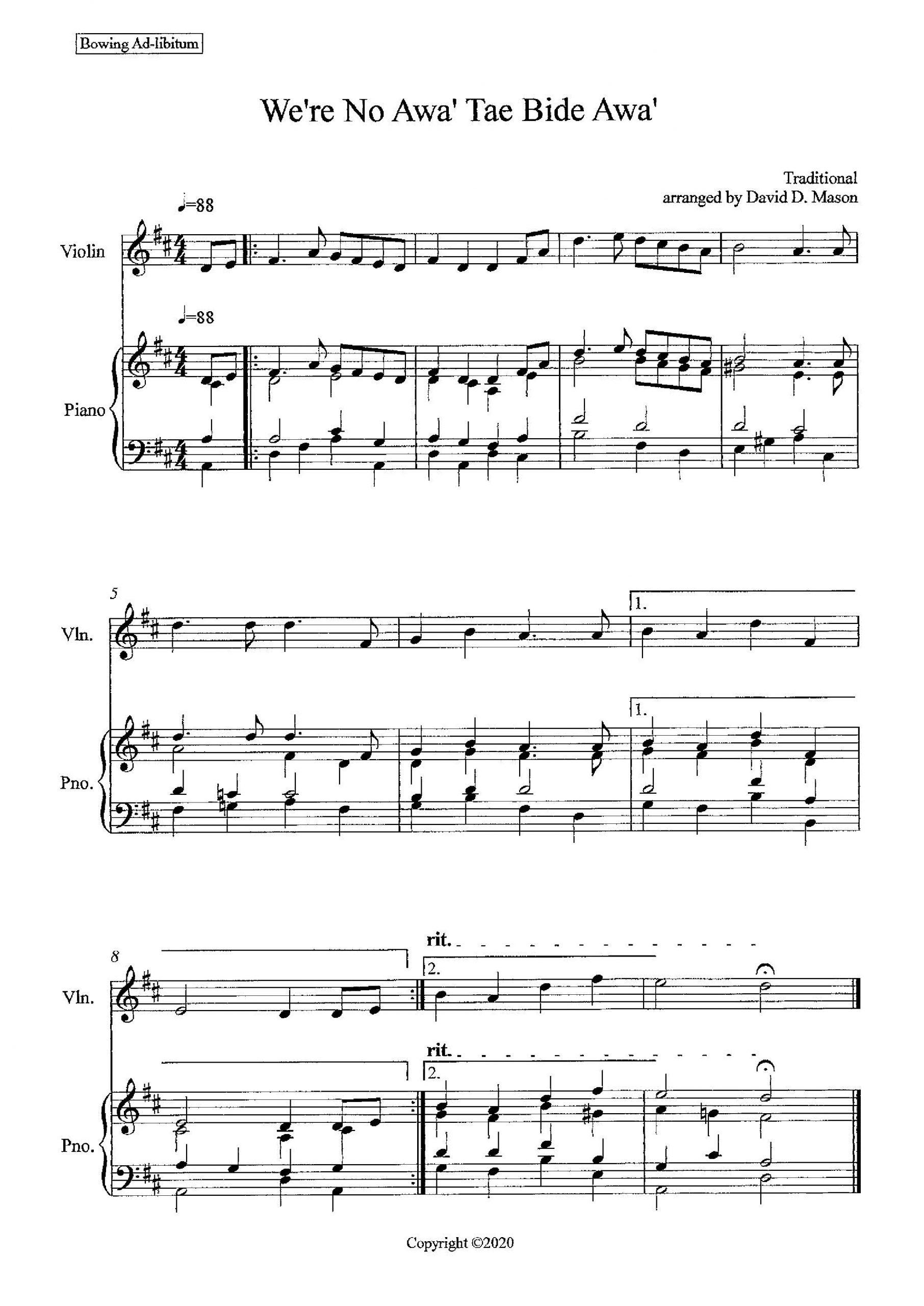 we're no awa' tae bide awa' - violin solo and piano - sheet music  marketplace  sheet music marketplace