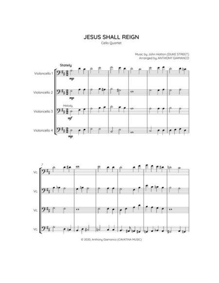 Jesus Shall Reign - cello quartet (1st page)