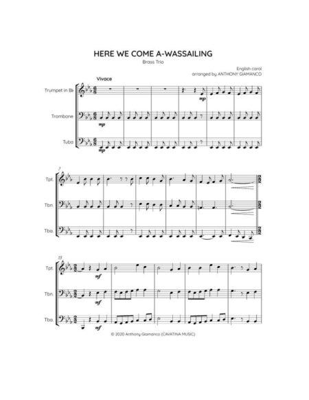 Here We Come A-Wassailing - brass trio