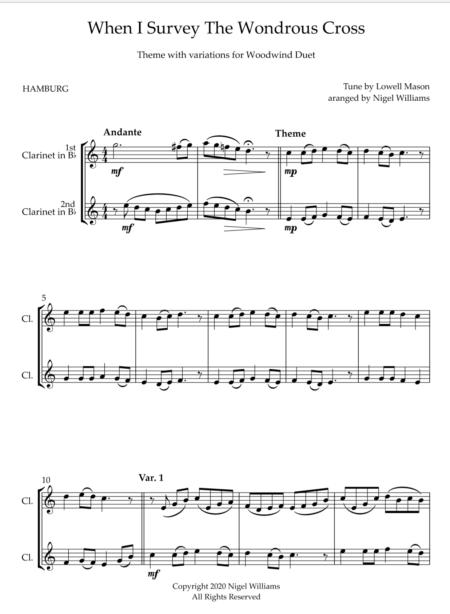 When I Survey The Wondrous Cross, for Clarinet Duet