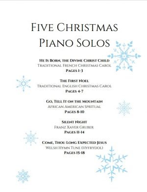 Five Christmas Piano Solos – Intermediate Level Solos