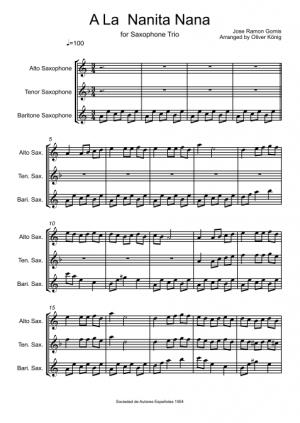 A La Nanita Nana for 3 Saxophones