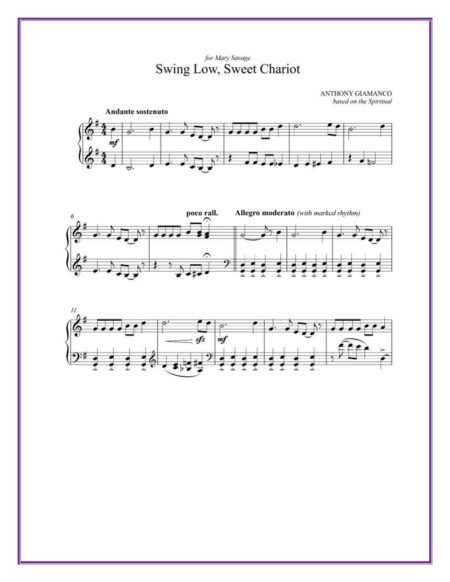 SWing Low, Sweet Chariot - piano (partial 1st pg.)