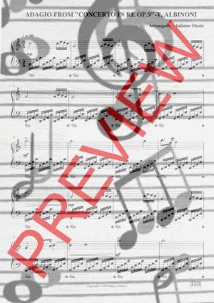 """ADAGIO FROM """"CONCERTO IN RE N.9"""" (EASY PIANO – C VERSION) – T. ALBINONI"""