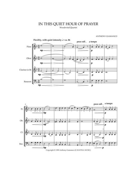 In This Quiet Hour of Prayer - wind quartet (1st pg.)