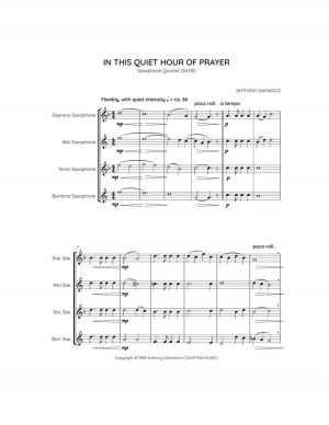 IN THIS QUIET HOUR OF PRAYER – saxophone quartet (SATB)