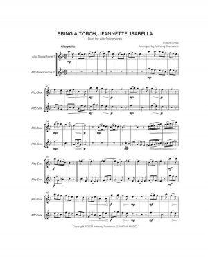 BRING A TORCH, JEANNETTE, ISABELLA – alto sax duet