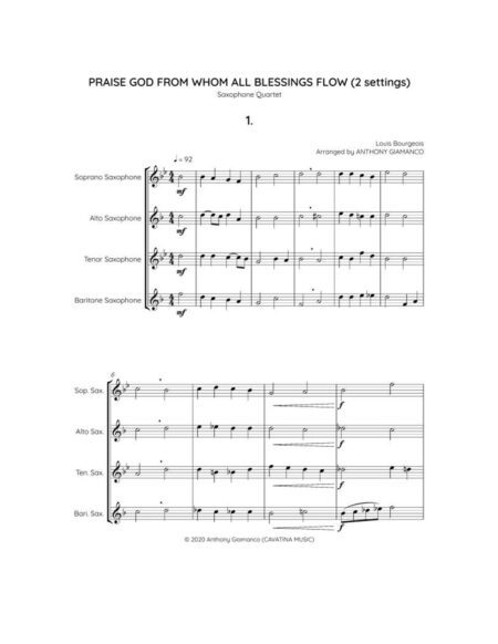 Praise God from Whom All Blessings Flow - sax qu. (score, pg. 1)