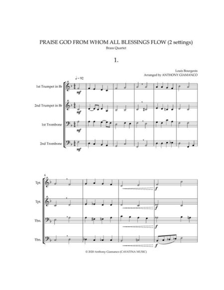 PRAISE-GOD-FROM-WHOM-ALL-BLESSINGS-FLOW - brass qu. (score. pg. 1)