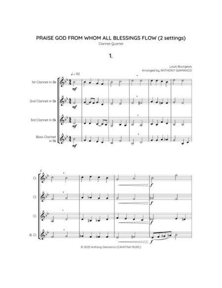 PRAISE-GOD-FROM-WHOM-ALL-BLESSINGS-FLOW - cl. quartet (score, pg. 1)