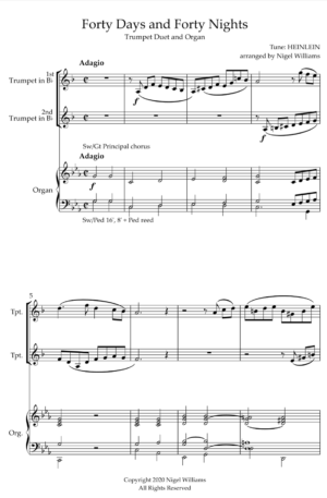 Forty Days And Forty Nights, for Trumpet Duet and Organ