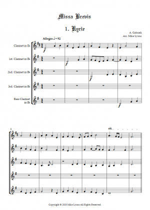 "Clarinet Quintet – Andrea Gabrieli ""Missa Brevis"""