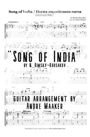 """Song of India / Песня индийского гостя"" – guitar arrangement with TAB and chord symbols"