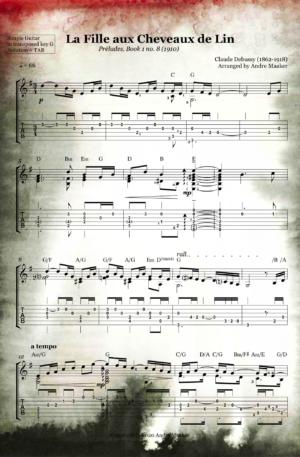 La Fille aux Cheveaux de Lin (The Girl With The Flaxen Hair) by Claude Debussy. Simple guitar arrangement with TAB.