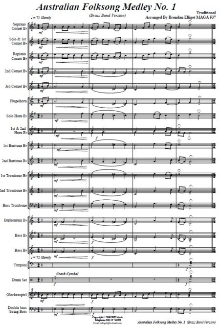 008 Australian Folksong Medley No 1 Brass Band SAMPLE page 001