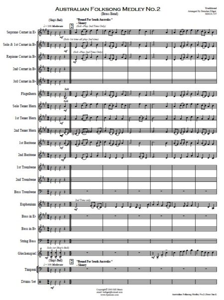 041 Australian Folksong Medley No 2 Brass Band SAMPLE page 001