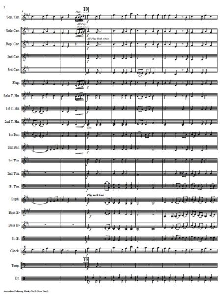 041 Australian Folksong Medley No 2 Brass Band SAMPLE page 002