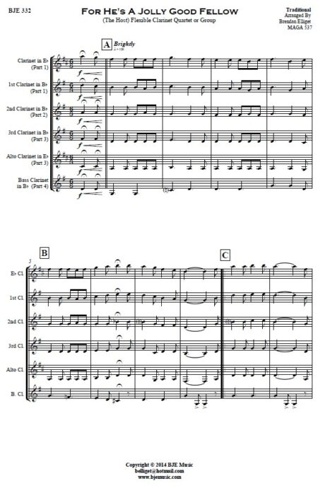 332 For Hes A Jolly Good Fellow Flexible Clarinet Quartet or Group SAMPLE page 001