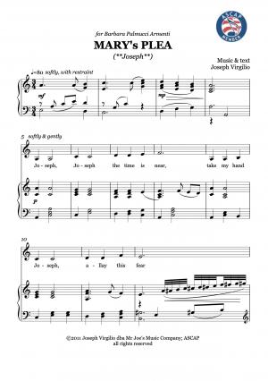 Mary's Plea (Joseph) alto solo with piano accompaniment