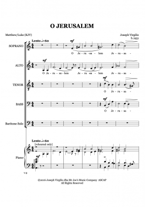 O Jerusalem – for mixed chorus (a cappella)