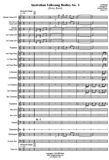 037 Australian Folksong Medley No 3 Brass Band SAMPLE page 001