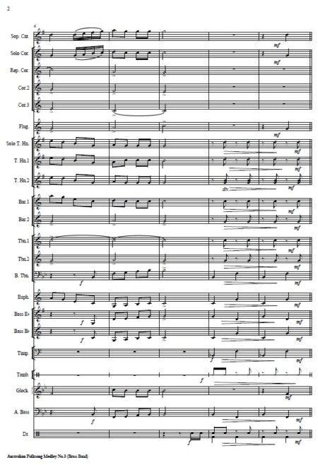 037 Australian Folksong Medley No 3 Brass Band SAMPLE page 002