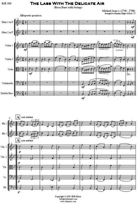 505 The Lass with the Delicate Air F Horn Duet and Strings SAMPLE page 001