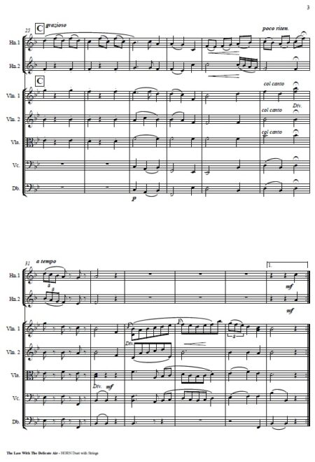 505 The Lass with the Delicate Air F Horn Duet and Strings SAMPLE page 003