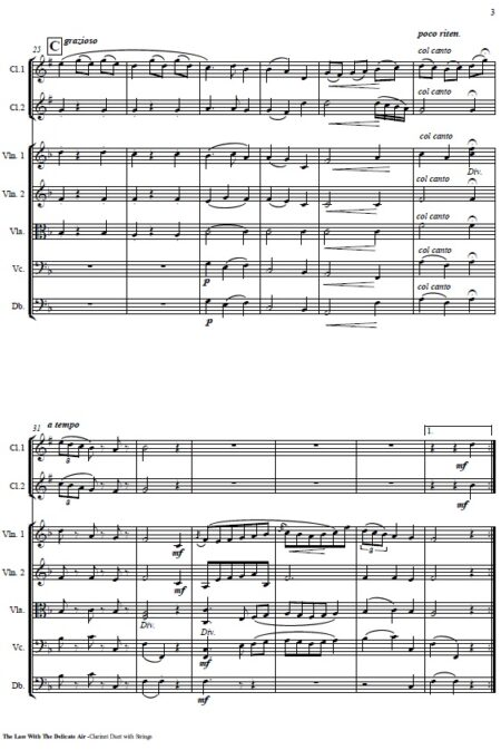 506 The Lass with the Delicate Air CLARINET Duet and Strings SAMPLE page 003
