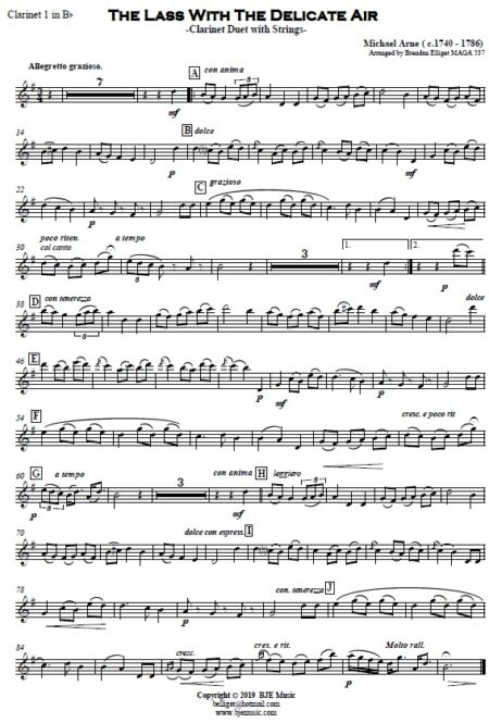 506 The Lass with the Delicate Air CLARINET Duet and Strings SAMPLE page 004