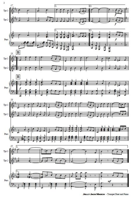 507 Jolly Jack March Trumpet Duet and Piano SAMPLE page 002