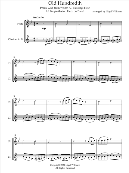 Old Hundredth, Duet for Flute and Clarinet