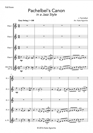 Pachelbel's Canon – A Jazz Arrangement for Flute Quartet