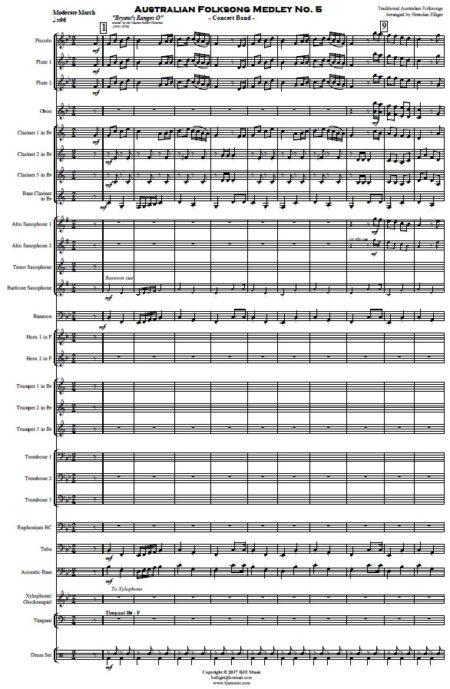218 Australian Folksong No 5 Concert Band SAMPLE page 001