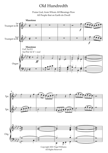 Old Hundredth, for Trumpet Duet and Organ