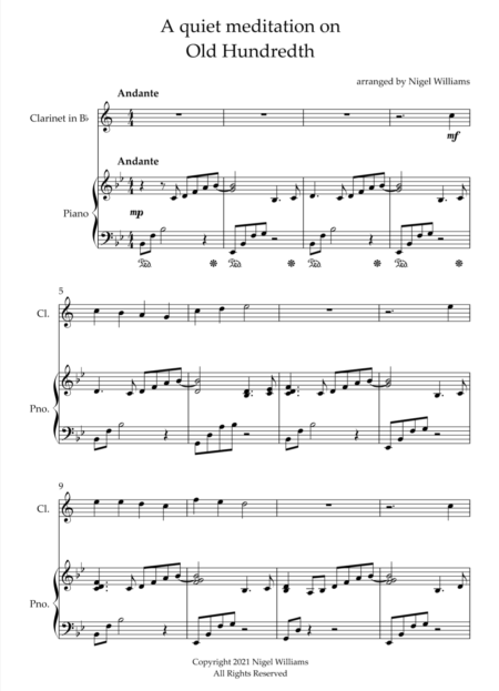 A Quiet Meditation On Old Hundredth, for Clarinet and Piano