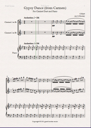 """Gypsy Dance"" (From Bizet's Carmen). For Clarinet Duet and Piano- Intermediate."